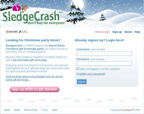 screenshot of SledgeCrash home page